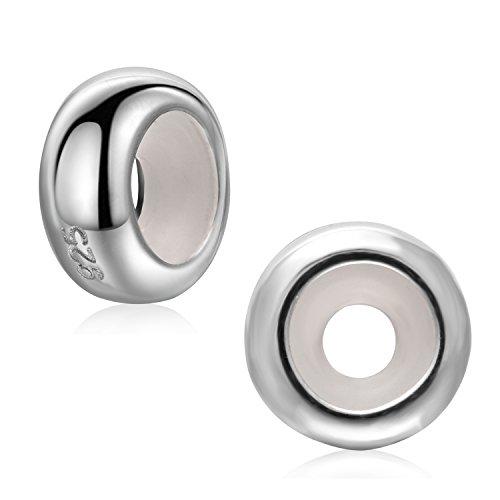 Ciondoli separatori circolari in argento sterling 925 da 3 mm,con anello in gomma, per braccialetti e collane; in confezione da 2 e argento, colore: silver, cod. sk-01