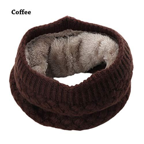 1PC Frauen Solide Chunky Kabel O Ring Gestrickte Wolle Schal Snood Infinity Halswärmer Cowl Kragen Kreis Häkeln Schal Winter Warm Coffee