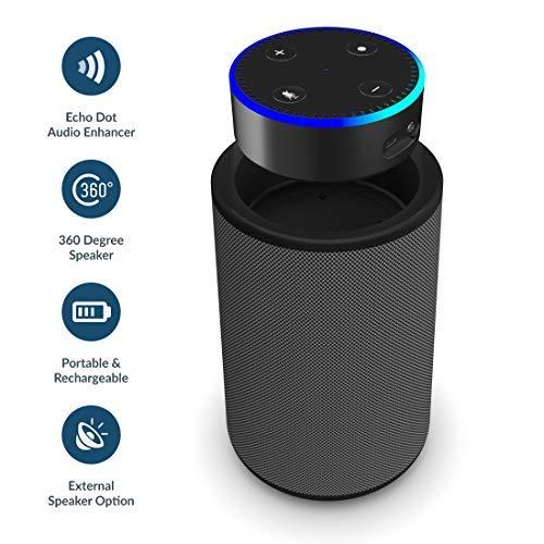 Hobson Amazon Alexa Echo Dot (Gen 1 e 2) 360 Altoparlante con docking tray, ricaricabile e batteria portatile, 20 ore portabilità on-the-go, AUX IN iPhone/iPod/Android / MP3, AUX OUT (Grigio Scuro)