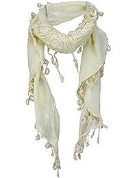 TigerTie Triangle tissu dans crème ivoire avec pomponsn - taille 150 x ... a6d010612e5