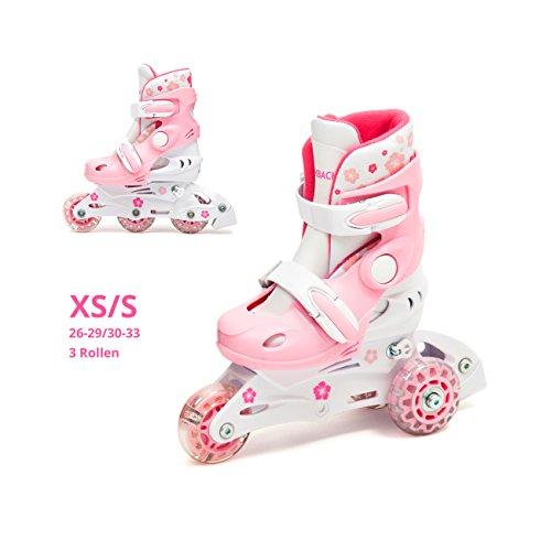 Kinder Inliner Inline Skates verstellbar Set LED Triskates mit Schutzset Helm Rücksack Rollschuhe Mädchen pink (XS (26-29))