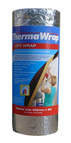 Thermawrap 400mm x 5m x 3.7mm Loft Wrap Easy Fit Loft Insulation without Thickness