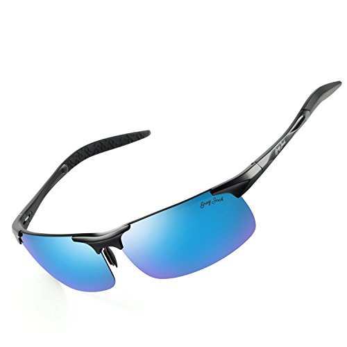 GREY JACK Lightweight Al-Mg Alloy Metal Half-frame Polarized Sports Sunglasses Large for men women Black Frame Ice Blue Lens (Ice Black Womens)