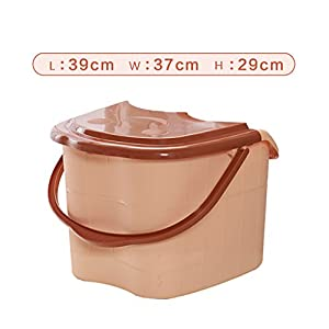 Saun K Fuß Badewanne, Kunststoff Hellbraun Fuß Bad Barrel, Tragbare Fußmassage Becken, Fuß Spa Becken, Fußbad