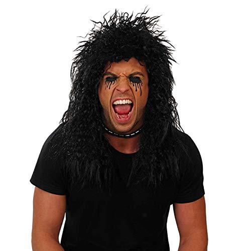 Band Kostüm Metal Hair - Fun Shack Herren Costume Kostüm, Rocker Wig Black, Einheitsgröße
