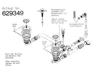 Bonde et trop-plein pour évier schock d-200 dOMUS d-150–dOMUS-dOMUS n-200 focus, d-150 notamment avec câble bowden et bonde d'écoulement