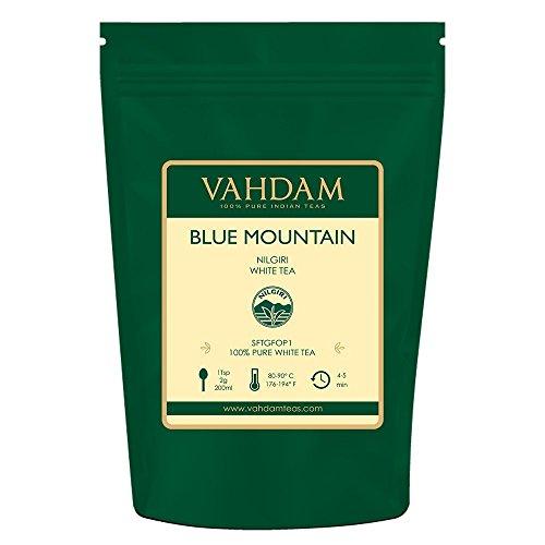 Foglie di tè bianche esotiche dalle Blue Mountains, 50 grammi (25 tazze) - MIGLIOR TEA TIPO DEL MONDO - 100{fb196b6bebf50955ae78aa42bc8ff81b4cd55e90424ec5fa9e99b2f7b471ba4b} foglia di tè bianca certificata, RICCA DI ANTIOSSIDANTI POTENTI, dall\'India