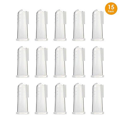 Locisne 15 stücke weiche silikon pet finger zahnbürsten, hundezahn reiniger pinsel hund katze zähne reinigung zahnpflege für hunde katzen(15 * Fingerzahnbürste) - Finger, Pinsel