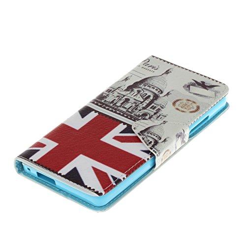 Qiaogle Telefon Case - PU Leder Wallet Schutzhülle Case für Apple iPhone 5 / 5G / 5S / 5SE (4.0 Zoll) - HX04 / London Envelopes HX04 / London Envelopes