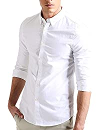 Men's Full Sleeves Cotton Casual White Shirt