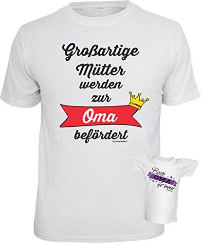 Soreso® Cooles Fun Sprüche T-Shirt IM Set mit Minishirt - Großartige Mütter Oma, Ideales Geschenk für Damen Farbe Weiß