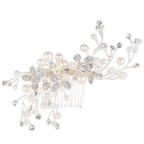 Clearine Femme Bohémien Perle Artificielle Noces Floral Manuel Ajustable Aurore Boréale Cheveux Peigne Couleur Ivorine