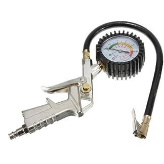 Takestop® Pistola de aire para neumáticos coche moto bicicleta con manómetro para compresor inflador