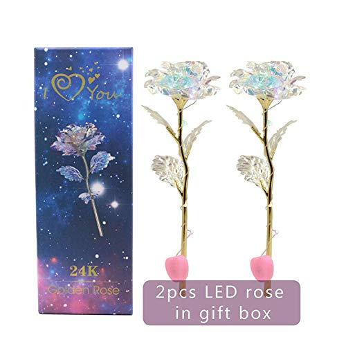 Zwei Licht-set (Equickment 2 Sets LED-Licht Crystal Rose Flower Kit zum Jubiläum Valentinstag)
