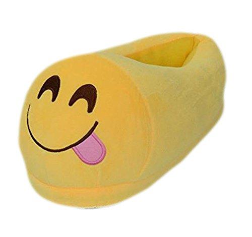 Hiver Hommes beginning f Emoji Drôle Dintérieur Pantoufles Cheville jaune Femmes Couple Unisexe Chaussures Auspicious Coton ntwzz