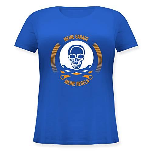 Statement Shirts - Meine Garage Meine Regeln - XL (50/52) - Blau - JHK601 - Lockeres Damen-Shirt in großen Größen mit Rundhalsausschnitt