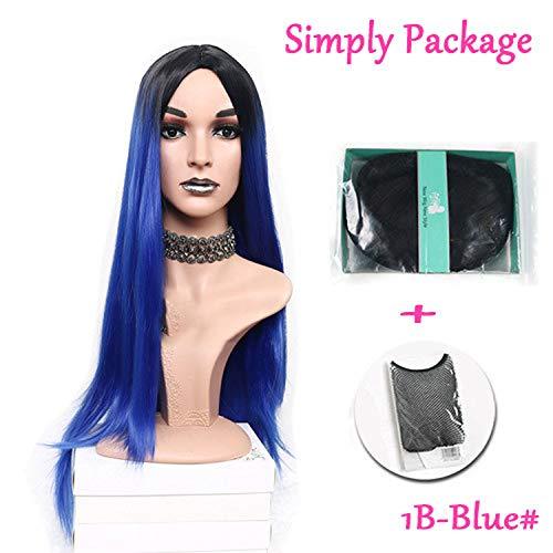 Lang gerade hitzebeständige synthetische Two Tone-Perücken für Frauen schwarz braun blau Haarteil, BLAU-YOU, ()