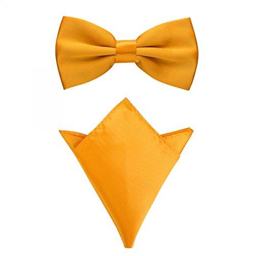Rusty Bob - Fliege mit Einstecktuch in verschiedenen Farben (bis 48 cm Halsumfang) - zur Konfirmation, zum Anzug, zum Smoking - im 2er-Set - Gelb