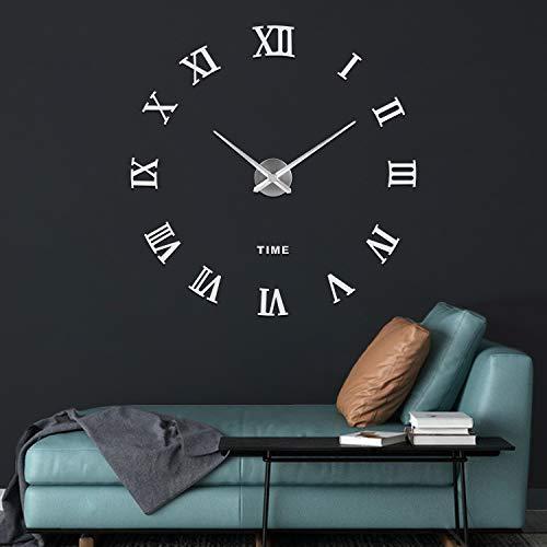41gTJFiy03L - SOLEDI Reloj de Pared 3D, DIY Reloj de Etiqueta de Pared Decoraciš®n Ideal para la Casa Oficina Hotel Restaurante, llenado Pared Vacšªa 3D Reloj (Plata)