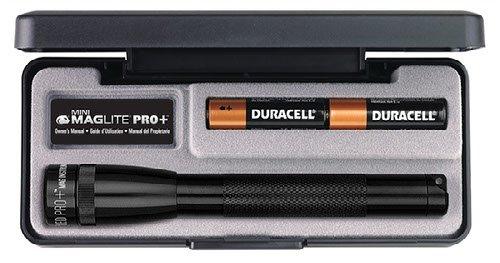 Mag-Lite LED Mini Maglite Pro + Taschenlampe mit 245 Lumen inkl. 2 Mignon-Batterien, schwarz, im Etui, SP+P017 -