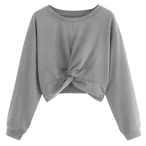 Damen Kurz Crop Top Pullover Crewneck Pulli Sweatshirt Einfarbig Teenager Mädchen Bauchfrei Tops Langarm Jumper Oberteile Shirt Langarmshirt T-Shirt (XL, Grau)