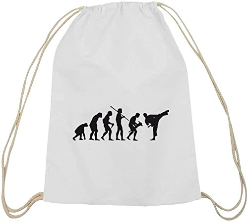 Shirtstreet24, EVOLUTION JUDO, Kampfsport Karate Baumwoll natur Turnbeutel Rucksack Sport Beutel weiß natur