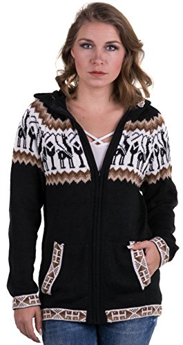 Schwarzen Alpaka-Pullover mit Reißverschluss und Kapuze - Andean - Alpaka Pullover