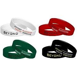 4 Beyond Dreams - Pulseras con mensajes motivadores (4 unidades, en inglés)