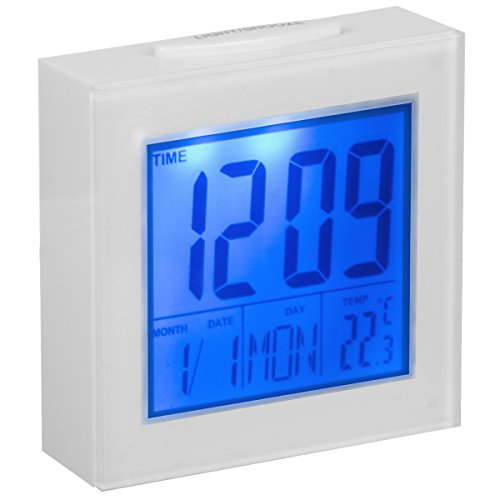 LED Digitale Wecker mit Schlummer-/Lichtfunktion & Temperatur-/ Datumanzeige- Der kompakte Reisewecker (Black Light Clock)