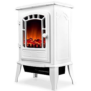Elektro Kamin Elektrischer mit Heizung | LED Kaminfeuer Effekt | 2000W | weiß | Flammeneffekt Heizer Ofen