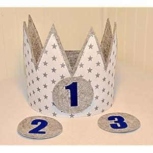 Geburtstagskrone Der Wollprinz, Krone, Kinder Geburtstag-Krone Kinderkrone Geburtstagskrone, Stoffkrone Weiss/Grau