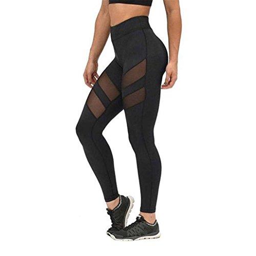 Bluestercool Frauen Fitness/Workout Leggings Mesh Patchwork Leggings Skinny hohe Taille Push-Up Hose