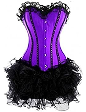 Purple Satin Black Tissue Moulin Rouge Burlesque Costume Overbust Corset Dress