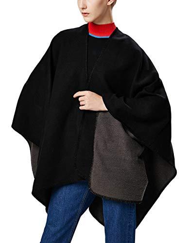 Aivtalk - Poncho Lana Mujer Negro Chal Punto Invierno