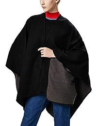 Aivtalk - Oversize Poncho de Lana para Mujer Liso Capa de Punto de Gran Tamaño Calentito para Invierno Entretiempo Estilo Simple Casual Chal 130 x 150 CM