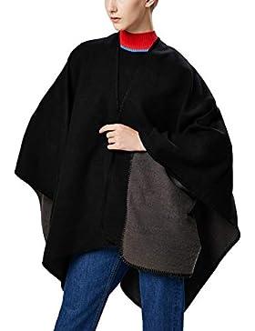 Aivtalk - Oversize Poncho de Lana para Mujer Liso Capa de Punto de Gran Tamaño Calentito para Invierno Entretiempo...