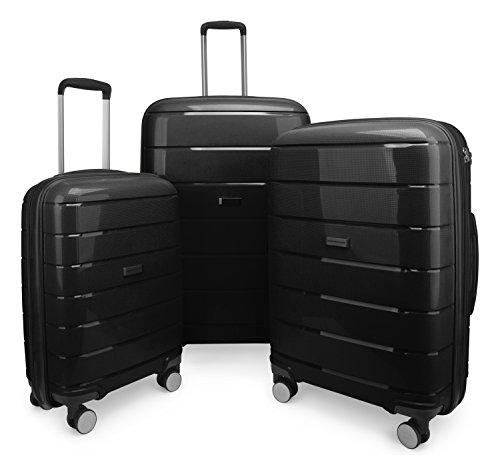 HAUPTSTADTKOFFER - PRNZLBRG - Set di 3 Trolley Valigie rigide e leggere con 4 ruote, espandibile, TSA (S, M & L), Volume totale 232 L, Nero