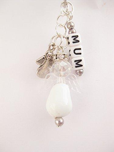 Perle en Verre-Blanc-Angel-Sac + porte-clés