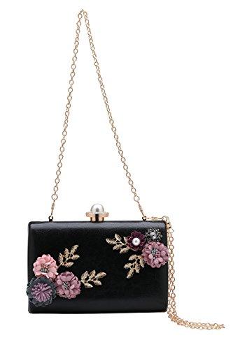 BABEYOND Custodia rigida borsa elegante fiore ramo della frizione del partito di sera della frizione delle donne Nero