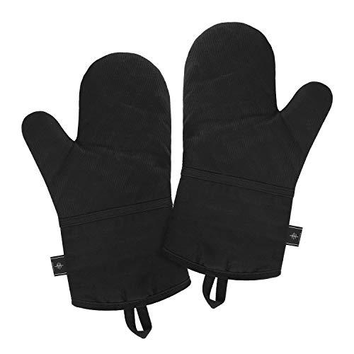 BONTHEE Hitzebeständige Ofenhandschuhe mit langem Handgelenkschutz Schwarze Ofenhandschuhe