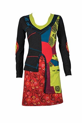Alternatives Tunika Kleid mit ethnischen Mustern & bunten Details - 100% Baumwolle - SHRI (S/M)