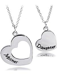 Collar para madre e hija, juego de 2 corazones a juego, hermanas, mejores