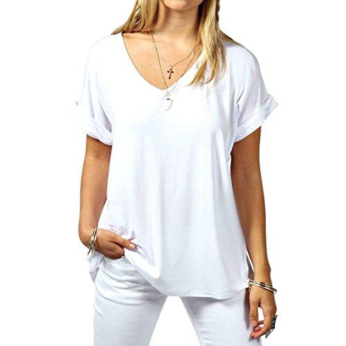 Roll-up-shirts ärmel Damen 2 1 (Butterme Sommer Frauen mit V-Ausschnitt beiläufige kurze Hülsen oversize T-Shirt Bluse Tees Tops Weiß)