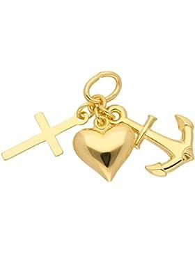 Gold 14 k ( 585 ) Motiv - Anhänger - Glaube - Liebe - Hoffnung - B. 9 mm - H. 9,9 mm