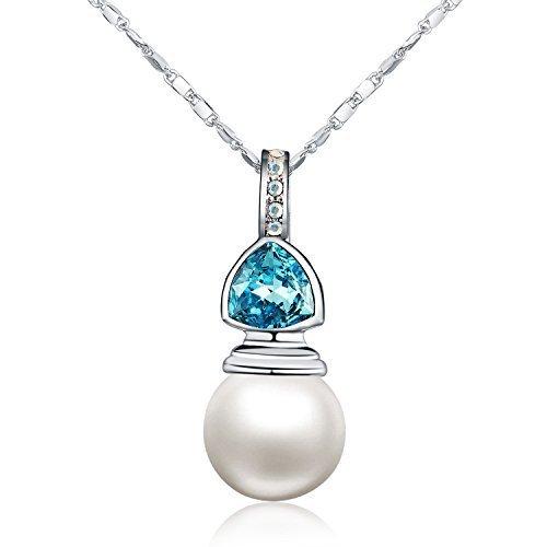 Swarovski Elements - 12 mm naturale perla d'acqua dolce - Collane con pendente a forma di pietra (blu)