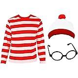 'Childs Find Me' Funny Man Niños de rayas, color blanco y rojo manga larga + Rojo y Blanco Gorro + Negro Nerd Gafas Disfraz Juego de búsqueda de Me Libro Semana de 4–14años