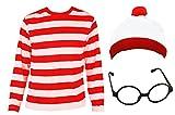 Disfraz de Wally para niños (unisex) con camiseta de manga larga de rayas rojas y blancas, gorro blanco con borla y gafas negras de pasta, para niños de 4 – 6 años