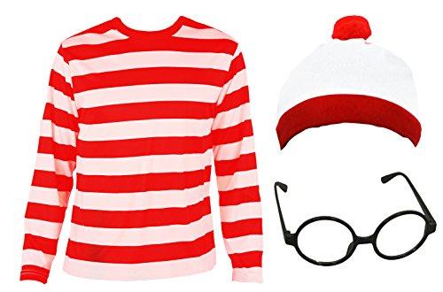Imagen de 'childs find me' funny man niños de rayas, color blanco y rojo manga larga + rojo y blanco gorro + negro nerd gafas disfraz juego de búsqueda de me libro semana de 4–14años