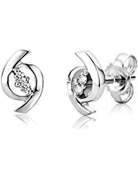 Orovi Woman Studs Earrings 9 ct/375 White Gold and Ruby