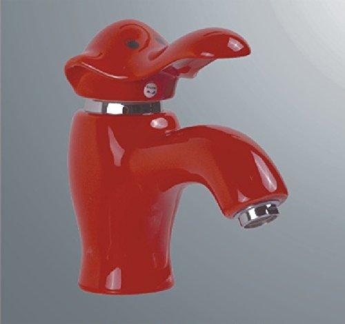 SADASD Grifo de lavabo de cobre para baño contemporáneo, cerámica, diseño de dibujos animados, color elefante, color rojo, lavabo, lavabo, mezclador, bobina de cerámica,